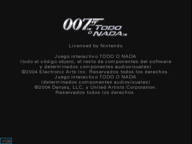 Image de l'ecran titre du jeu 007 - Todo o Nada sur Nintendo GameCube