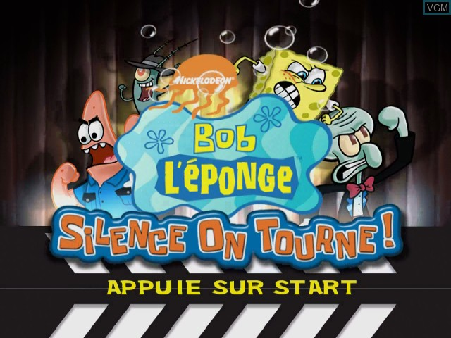 Image de l'ecran titre du jeu Bob L'eponge - Silence on Tourne! sur Nintendo GameCube