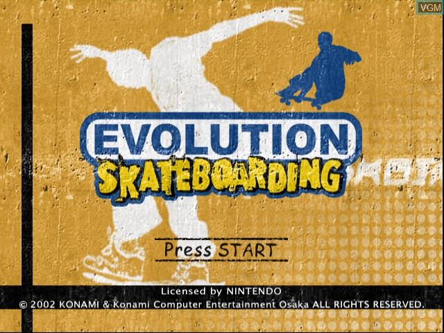 Image de l'ecran titre du jeu Evolution Skateboarding sur Nintendo GameCube