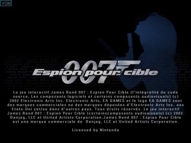 Image de l'ecran titre du jeu 007 - Espion pour Cible sur Nintendo GameCube