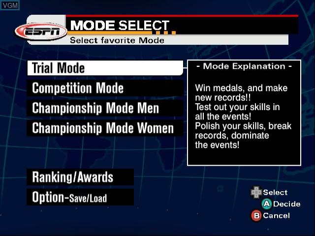 Image du menu du jeu ESPN International Winter Sports 2002 sur Nintendo GameCube