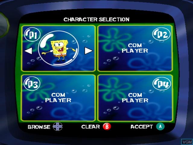Image du menu du jeu SpongeBob Squarepants - Licht uit, Camera aan! sur Nintendo GameCube