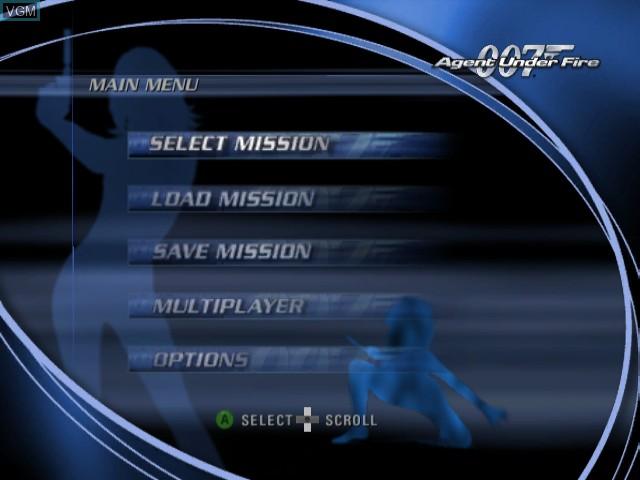 Image du menu du jeu 007 - Agent Under Fire sur Nintendo GameCube