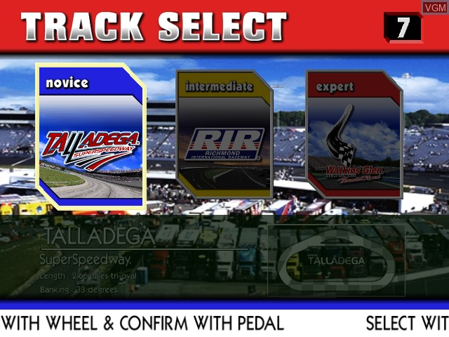Image du menu du jeu Nascar Racing sur Sega Hikaru