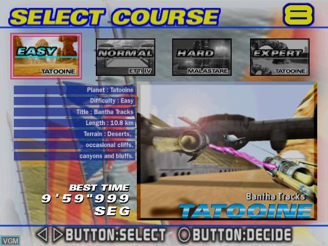 Image du menu du jeu Star Wars Racer Arcade sur Sega Hikaru