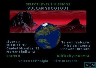Image du menu du jeu Hover Strike sur Atari Jaguar