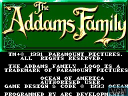 Image de l'ecran titre du jeu Addams Family, The sur Sega Master System