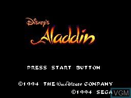 Image de l'ecran titre du jeu Aladdin sur Sega Master System