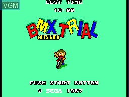 Image de l'ecran titre du jeu Alex Kidd - BMX Trial sur Sega Master System