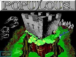 Image de l'ecran titre du jeu Populous sur Sega Master System