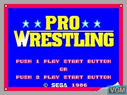 Image de l'ecran titre du jeu Pro Wrestling sur Sega Master System