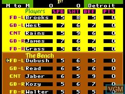 Image du menu du jeu Pat Riley Basketball sur Sega Master System