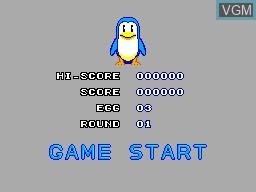 Image du menu du jeu Penguin Land sur Sega Master System