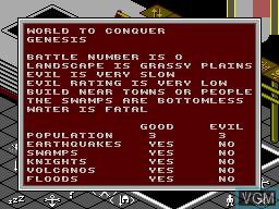 Image du menu du jeu Populous sur Sega Master System