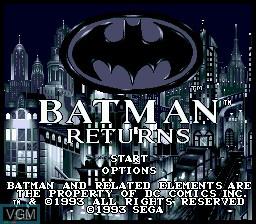 Image de l'ecran titre du jeu Batman Returns sur Sega Mega CD