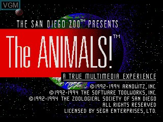 Image de l'ecran titre du jeu The Animals! sur Sega Mega CD
