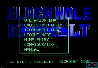 Image du menu du jeu Black Hole Assault sur Sega Mega CD