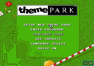 Image du menu du jeu Theme Park sur Sega Mega CD