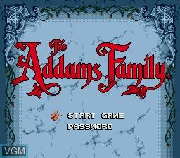 Image de l'ecran titre du jeu Addams Family, The sur Sega Megadrive