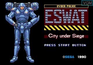 Image de l'ecran titre du jeu ESWAT Cyber Police - City Under Siege sur Sega Megadrive