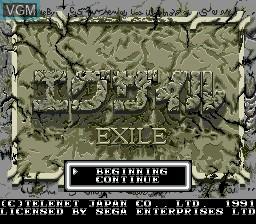 Image de l'ecran titre du jeu Exile sur Sega Megadrive