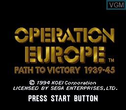 Image de l'ecran titre du jeu Operation Europe - Path to Victory 1939-1945 sur Sega Megadrive