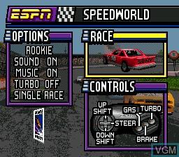 Image du menu du jeu ESPN SpeedWorld sur Sega Megadrive
