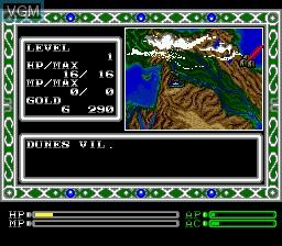 Image du menu du jeu Exile sur Sega Megadrive