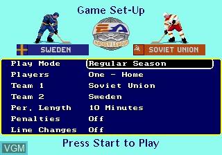 Image du menu du jeu EA Hockey sur Sega Megadrive
