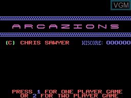 Image de l'ecran titre du jeu Arcazion sur Memotech MTX 512
