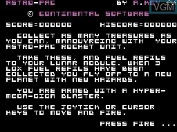Image de l'ecran titre du jeu Astro-Pac sur Memotech MTX 512