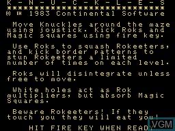 Image de l'ecran titre du jeu K-N-U-C-K-L-E-S sur Memotech MTX 512