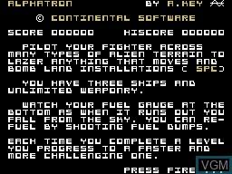 Image de l'ecran titre du jeu Mission Alphatron sur Memotech MTX 512