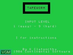 Image de l'ecran titre du jeu Tapeworm sur Memotech MTX 512