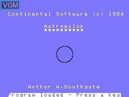 Image de l'ecran titre du jeu Astromilon sur Memotech MTX 512