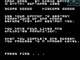 Image de l'ecran titre du jeu Hawk Wars sur Memotech MTX 512