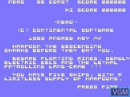 Image de l'ecran titre du jeu Nemo sur Memotech MTX 512