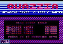 Image de l'ecran titre du jeu Quazzia sur Memotech MTX 512