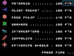 Image du menu du jeu Astro-Pac sur Memotech MTX 512