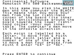 Image du menu du jeu Backgammon sur Memotech MTX 512