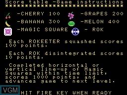Image du menu du jeu K-N-U-C-K-L-E-S sur Memotech MTX 512