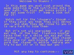 Image du menu du jeu Snappo sur Memotech MTX 512