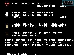 Image du menu du jeu Hawk Wars sur Memotech MTX 512