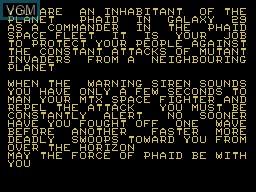 Image du menu du jeu Phaid sur Memotech MTX 512