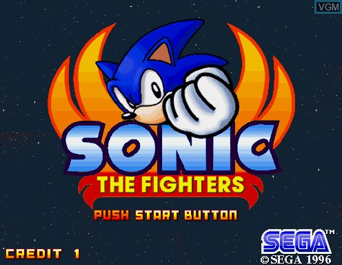 Image de l'ecran titre du jeu Sonic The Fighters sur Model 2