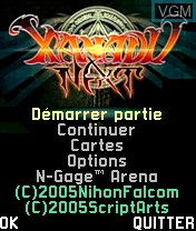 Image de l'ecran titre du jeu Xanadu Next sur Nokia N-Gage
