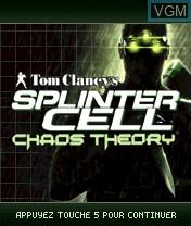 Image de l'ecran titre du jeu Tom Clancy's Splinter Cell Chaos Theory sur Nokia N-Gage