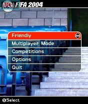 Image du menu du jeu FIFA Football 2004 sur Nokia N-Gage