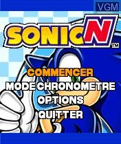 Image du menu du jeu Sonic N sur Nokia N-Gage