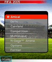 Image du menu du jeu FIFA Football 2005 sur Nokia N-Gage